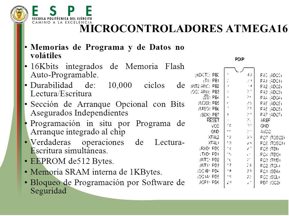 MICROCONTROLADORES ATMEGA16 Memorias de Programa y de Datos no volátiles 16Kbits integrados de Memoria Flash Auto-Programable. Durabilidad de: 10,000