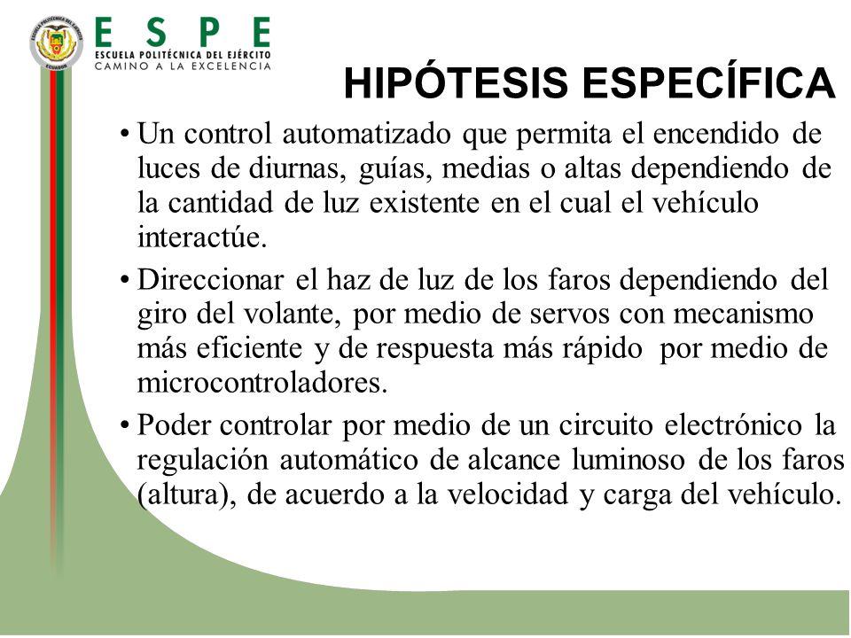 HIPÓTESIS ESPECÍFICA Un control automatizado que permita el encendido de luces de diurnas, guías, medias o altas dependiendo de la cantidad de luz exi