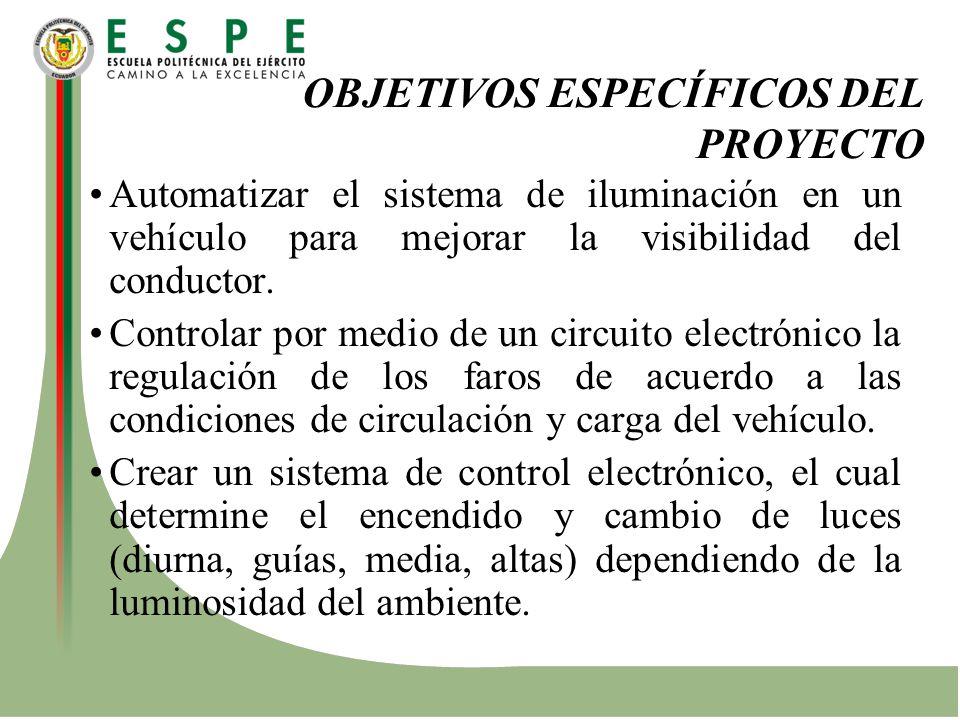 OBJETIVOS ESPECÍFICOS DEL PROYECTO Automatizar el sistema de iluminación en un vehículo para mejorar la visibilidad del conductor. Controlar por medio