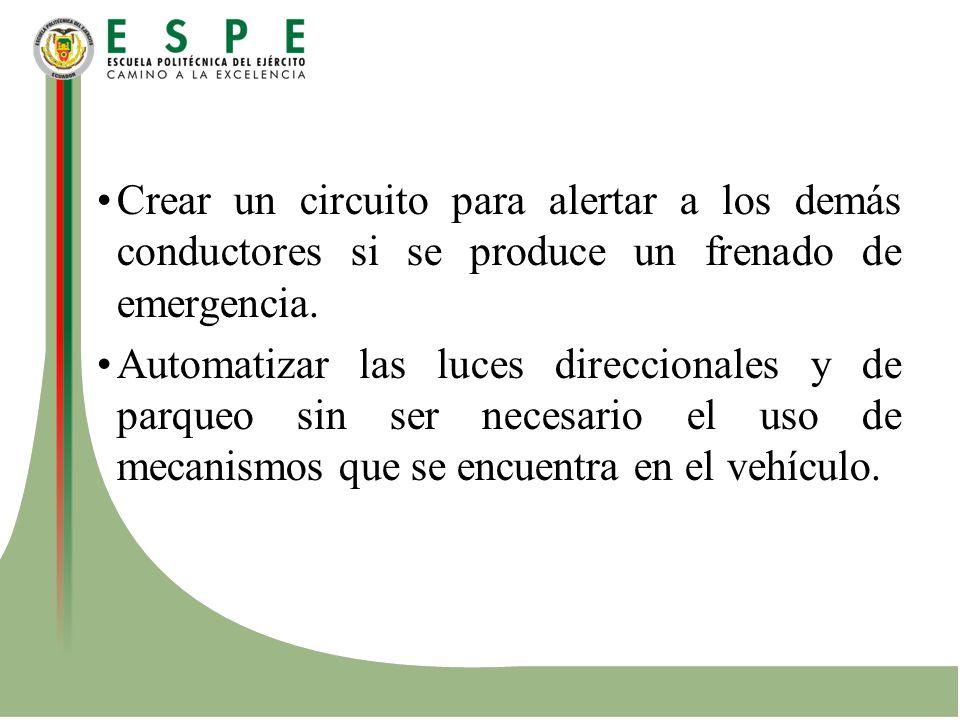 Crear un circuito para alertar a los demás conductores si se produce un frenado de emergencia. Automatizar las luces direccionales y de parqueo sin se
