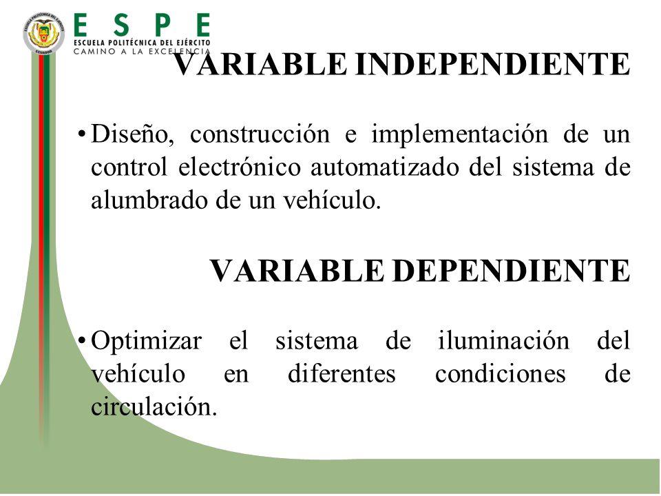 VARIABLE INDEPENDIENTE Diseño, construcción e implementación de un control electrónico automatizado del sistema de alumbrado de un vehículo. VARIABLE