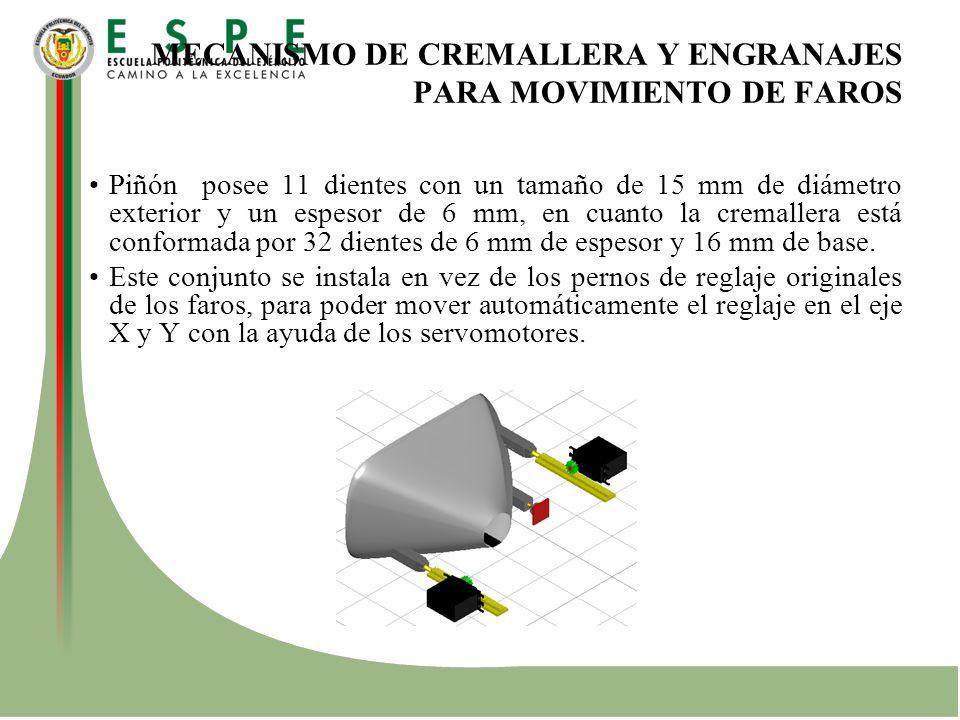 MECANISMO DE CREMALLERA Y ENGRANAJES PARA MOVIMIENTO DE FAROS Piñón posee 11 dientes con un tamaño de 15 mm de diámetro exterior y un espesor de 6 mm,