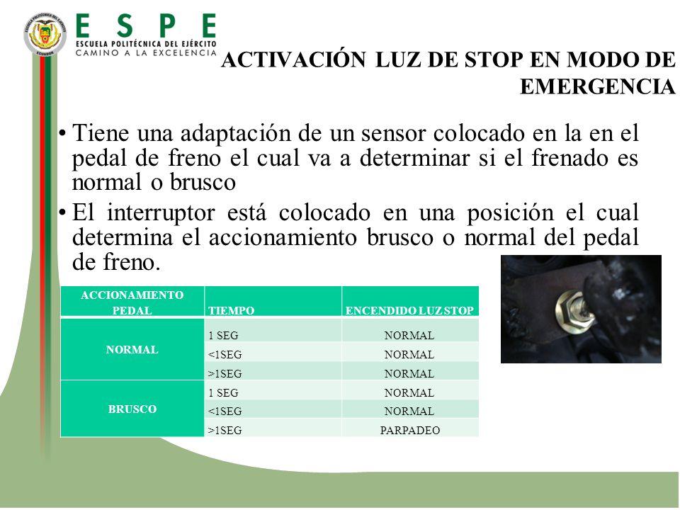 ACTIVACIÓN LUZ DE STOP EN MODO DE EMERGENCIA Tiene una adaptación de un sensor colocado en la en el pedal de freno el cual va a determinar si el frena