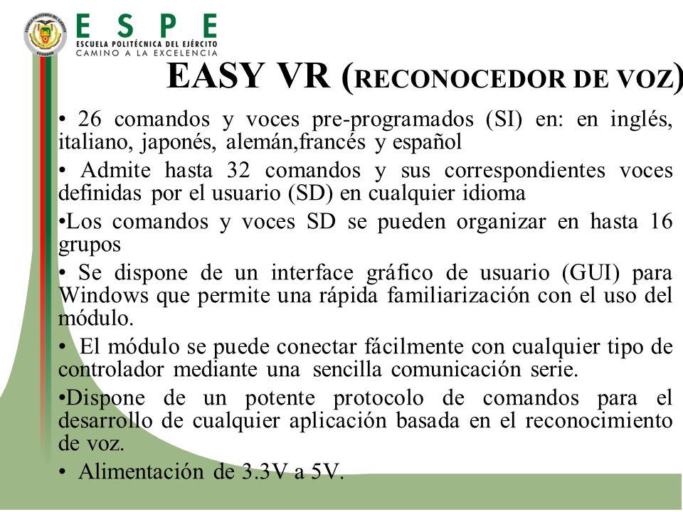 EASY VR ( RECONOCEDOR DE VOZ ) 26 comandos y voces pre-programados (SI) en: en inglés, italiano, japonés, alemán,francés y español Admite hasta 32 com