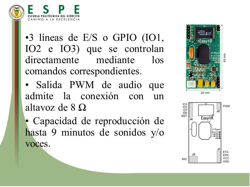 3 líneas de E/S o GPIO (IO1, IO2 e IO3) que se controlan directamente mediante los comandos correspondientes. Salida PWM de audio que admite la conexi
