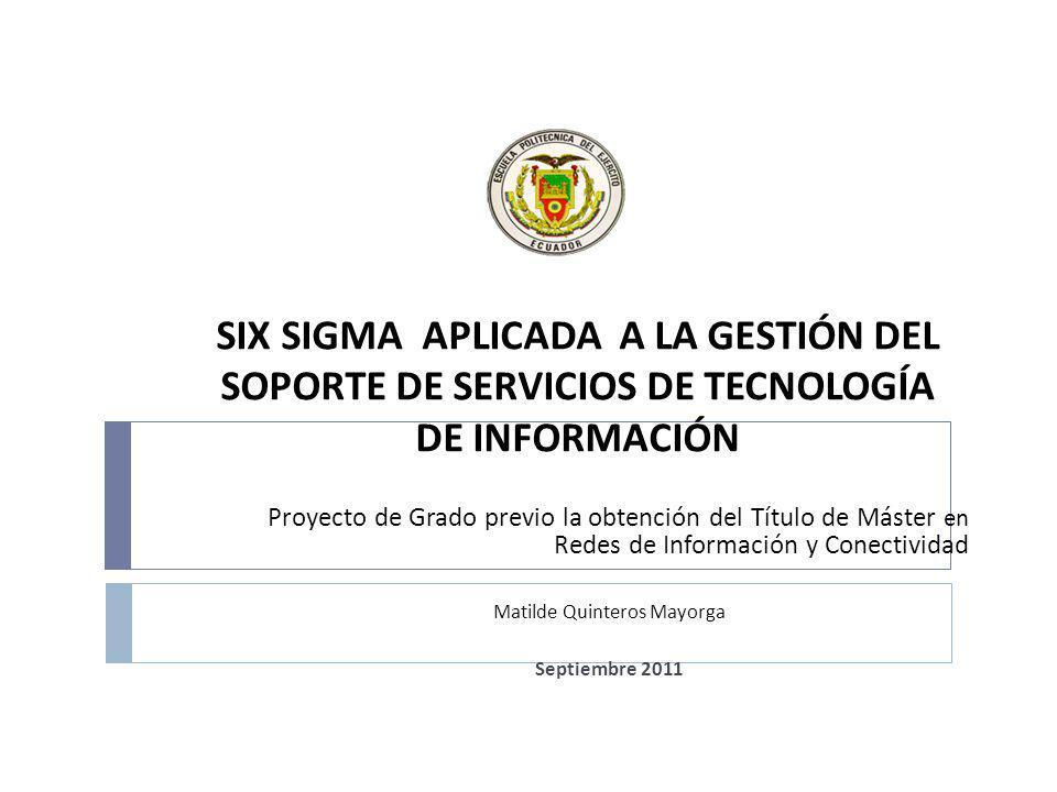 Resumen El proyecto presenta una propuesta para mejorar la calidad del servicio de la Gestión de Soporte de Tecnologías de la Información del Departamento de Tecnología & Sistemas de Ecuador Bottling Company Corp combinando para ello los procesos de Gestión de Soporte de la metodología ITIL con la metodología Six Sigma DMAMC.