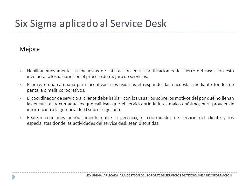 Six Sigma aplicado al Service Desk SIX SIGMA APLICADA A LA GESTIÓN DEL SOPORTE DE SERVICIOS DE TECNOLOGÍA DE INFORMACIÓN Mejore Habilitar nuevamente l