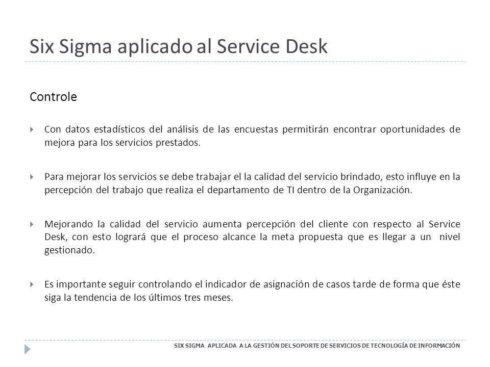 Six Sigma aplicado al Service Desk SIX SIGMA APLICADA A LA GESTIÓN DEL SOPORTE DE SERVICIOS DE TECNOLOGÍA DE INFORMACIÓN Controle Con datos estadístic