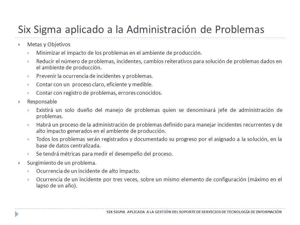 Six Sigma aplicado a la Administración de Problemas SIX SIGMA APLICADA A LA GESTIÓN DEL SOPORTE DE SERVICIOS DE TECNOLOGÍA DE INFORMACIÓN Metas y Obje