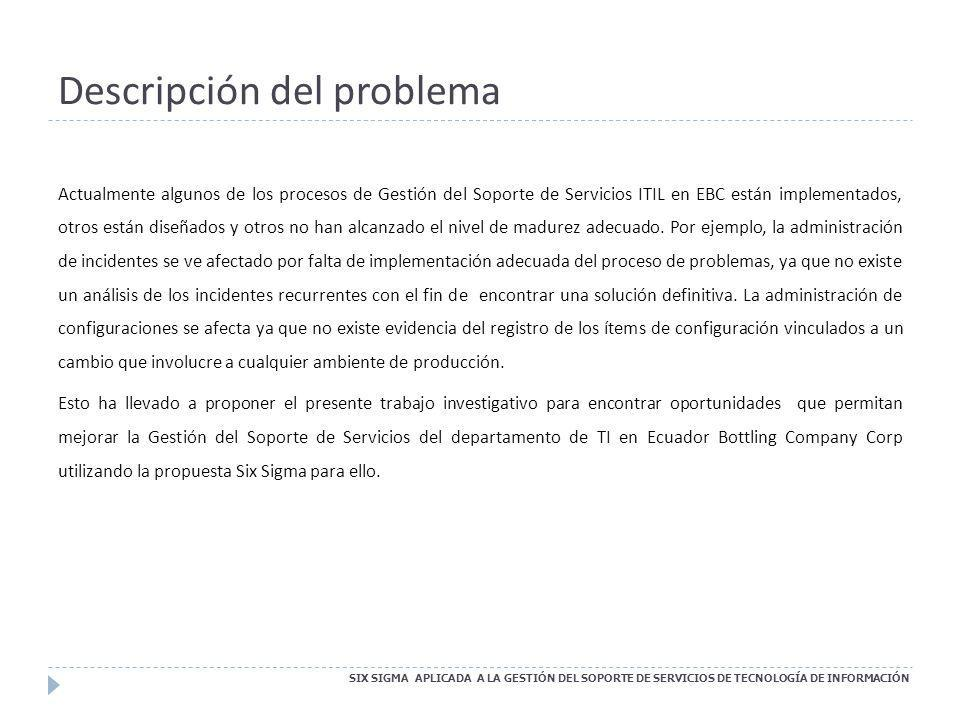 OBJETIVOS SIX SIGMA APLICADA A LA GESTIÓN DEL SOPORTE DE SERVICIOS DE TECNOLOGÍA DE INFORMACIÓN Objetivo General: Mejorar la Gestión del Soporte de Servicios de Tecnologías de Información del Departamento de Tecnología y Sistemas de Ecuador Bottling Company Corp utilizando Six Sigma.