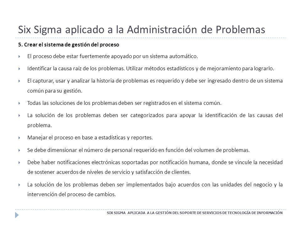 Six Sigma aplicado a la Administración de Problemas SIX SIGMA APLICADA A LA GESTIÓN DEL SOPORTE DE SERVICIOS DE TECNOLOGÍA DE INFORMACIÓN 5. Crear el
