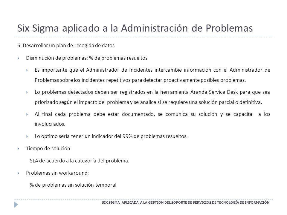 Six Sigma aplicado a la Administración de Problemas SIX SIGMA APLICADA A LA GESTIÓN DEL SOPORTE DE SERVICIOS DE TECNOLOGÍA DE INFORMACIÓN 6. Desarroll