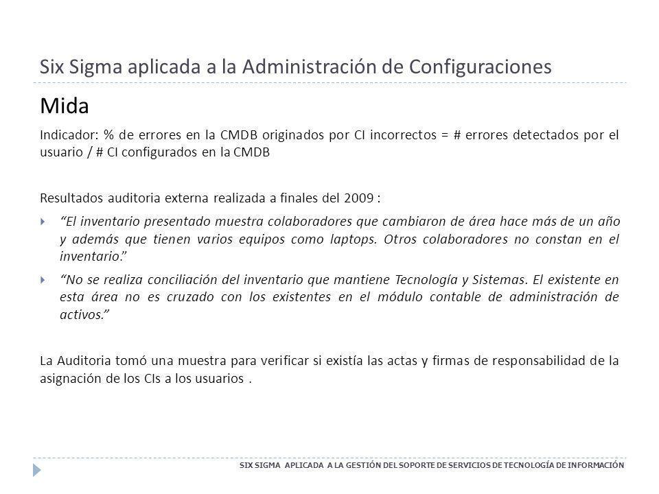 Six Sigma aplicada a la Administración de Configuraciones SIX SIGMA APLICADA A LA GESTIÓN DEL SOPORTE DE SERVICIOS DE TECNOLOGÍA DE INFORMACIÓN Mida I