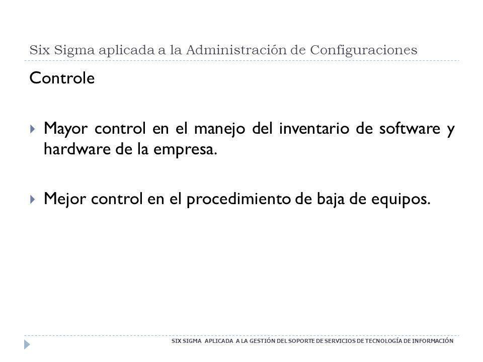 Six Sigma aplicada a la Administración de Configuraciones SIX SIGMA APLICADA A LA GESTIÓN DEL SOPORTE DE SERVICIOS DE TECNOLOGÍA DE INFORMACIÓN Contro