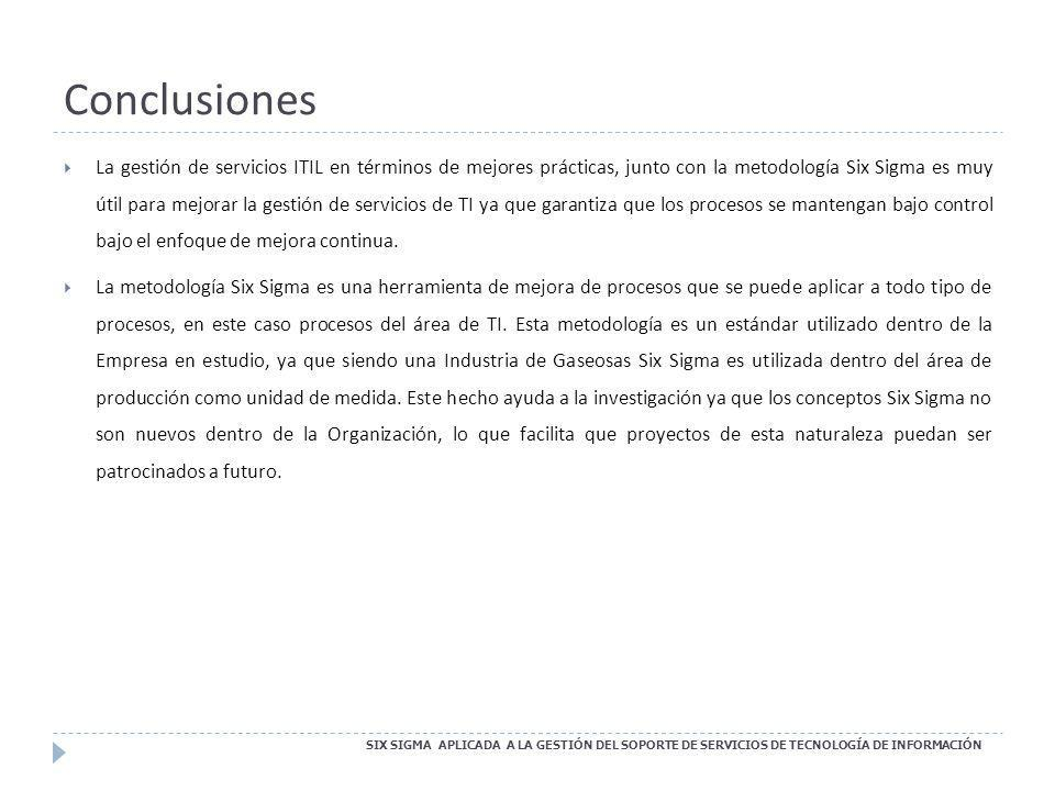 Conclusiones SIX SIGMA APLICADA A LA GESTIÓN DEL SOPORTE DE SERVICIOS DE TECNOLOGÍA DE INFORMACIÓN La gestión de servicios ITIL en términos de mejores