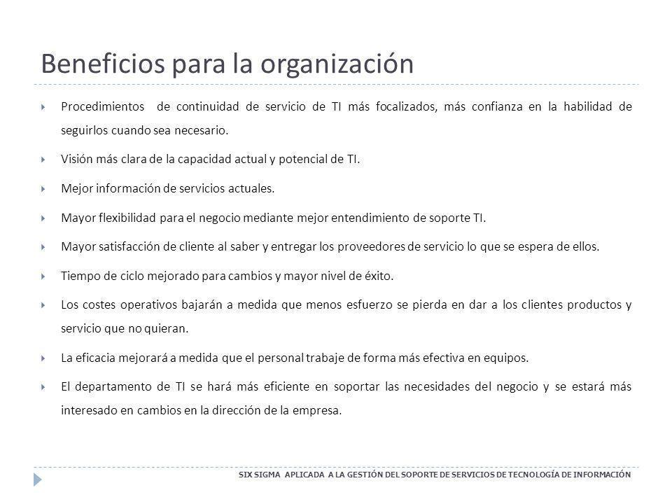Beneficios para la organización SIX SIGMA APLICADA A LA GESTIÓN DEL SOPORTE DE SERVICIOS DE TECNOLOGÍA DE INFORMACIÓN Procedimientos de continuidad de