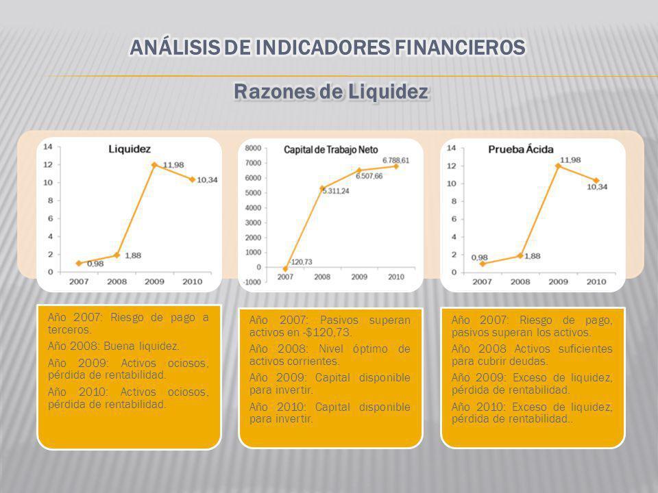 Año 2007: Riesgo de pago a terceros. Año 2008: Buena liquidez. Año 2009: Activos ociosos, pérdida de rentabilidad. Año 2010: Activos ociosos, pérdida