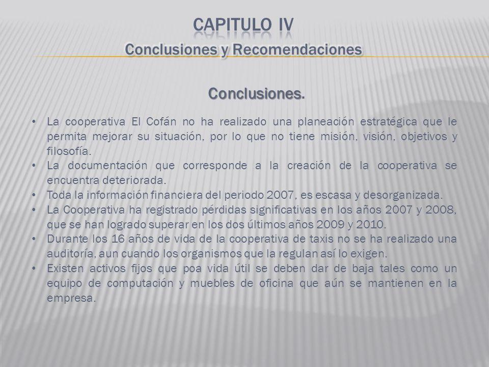 Conclusiones Conclusiones. La cooperativa El Cofán no ha realizado una planeación estratégica que le permita mejorar su situación, por lo que no tiene