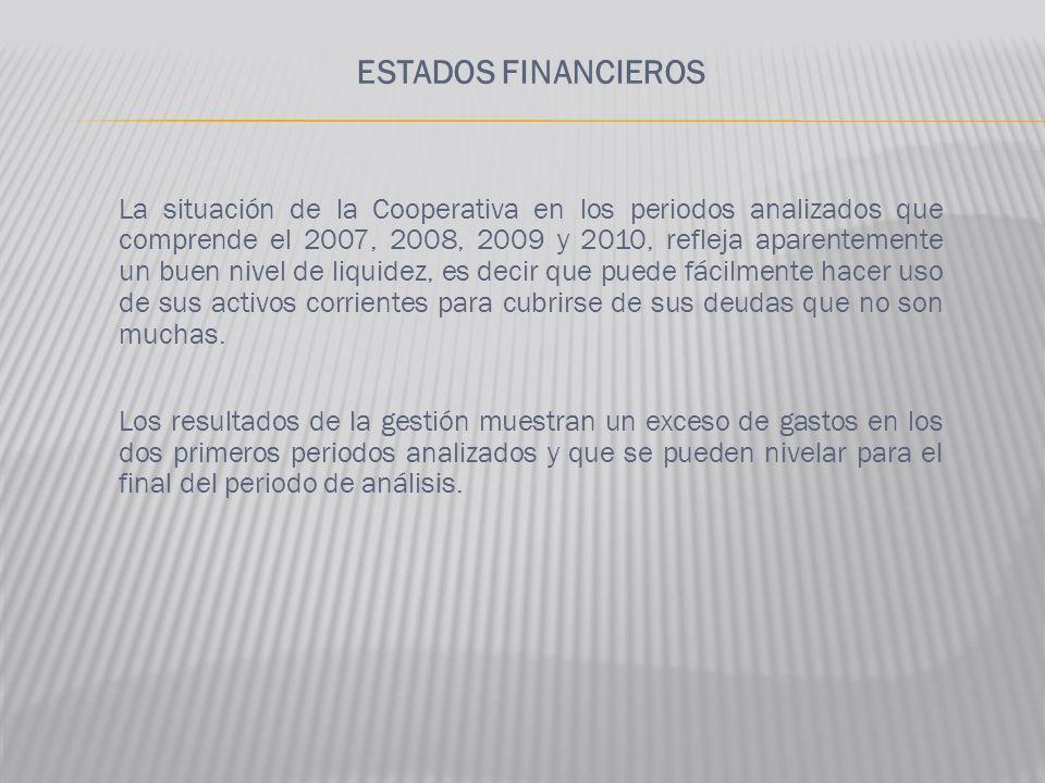 ESTADOS FINANCIEROS La situación de la Cooperativa en los periodos analizados que comprende el 2007, 2008, 2009 y 2010, refleja aparentemente un buen