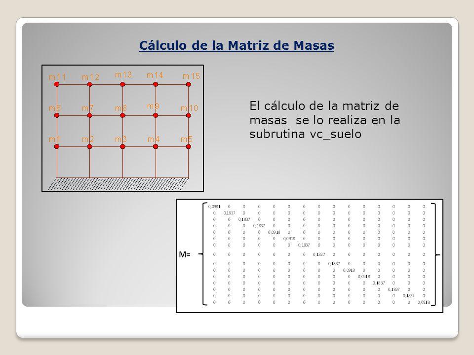 Cálculo de la Matriz de Masas El cálculo de la matriz de masas se lo realiza en la subrutina vc_suelo