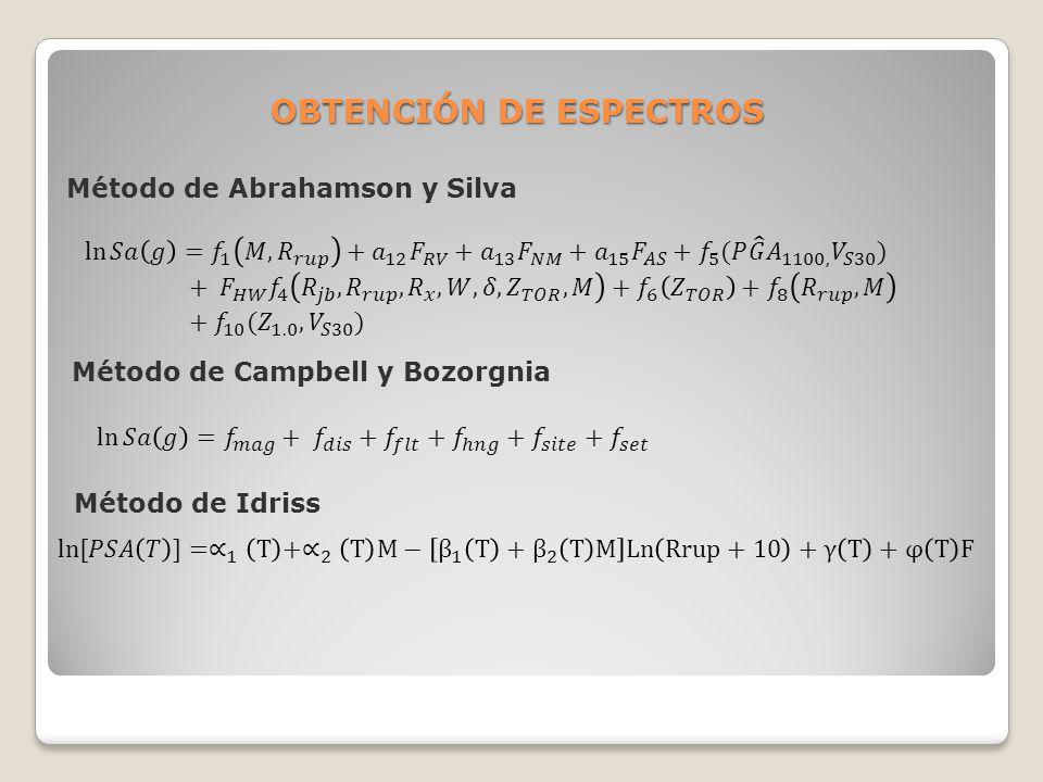 OBTENCIÓN DE ESPECTROS Método de Abrahamson y Silva Método de Campbell y Bozorgnia Método de Idriss