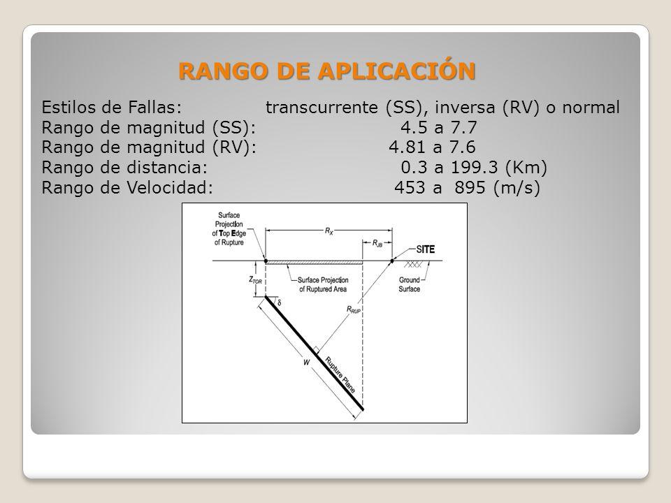 Estilos de Fallas: transcurrente (SS), inversa (RV) o normal Rango de magnitud (SS): 4.5 a 7.7 Rango de magnitud (RV): 4.81 a 7.6 Rango de distancia: