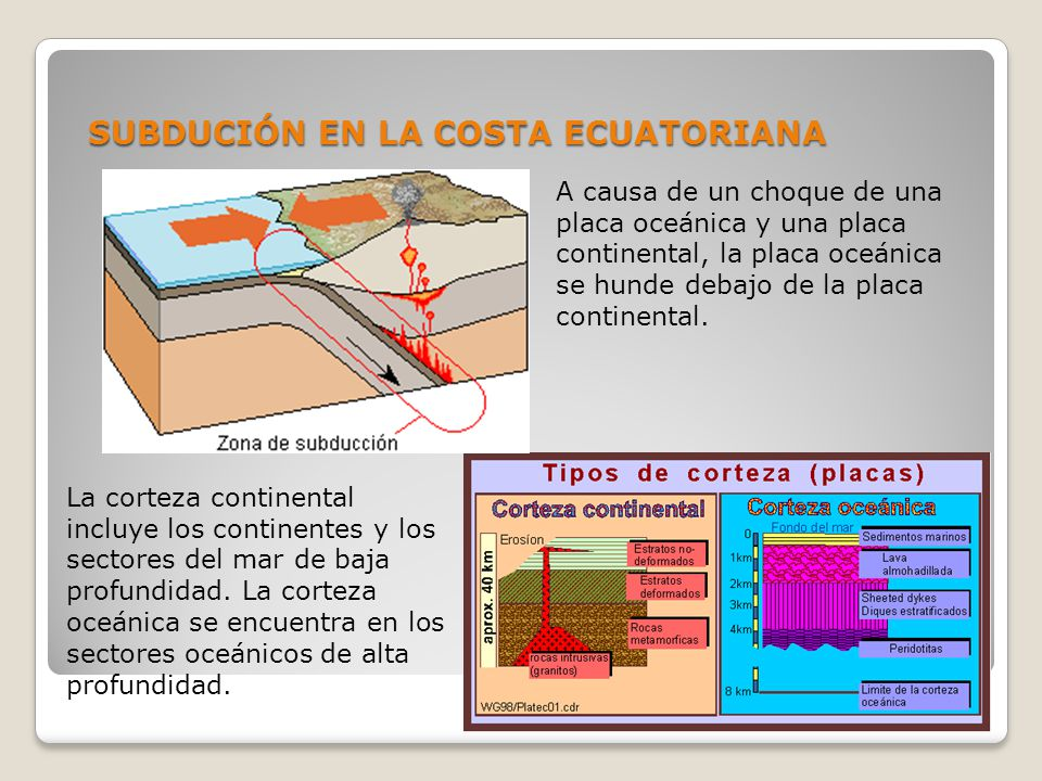 SUBDUCIÓN EN LA COSTA ECUATORIANA A causa de un choque de una placa oceánica y una placa continental, la placa oceánica se hunde debajo de la placa co