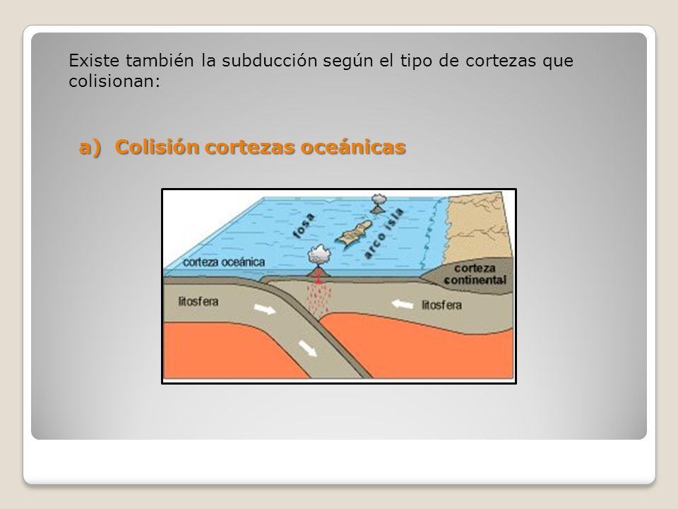 Existe también la subducción según el tipo de cortezas que colisionan: a) Colisión cortezas oceánicas