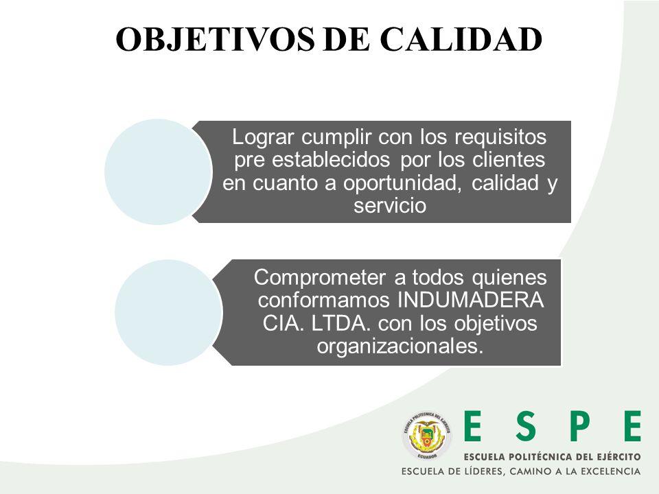 OBJETIVOS DE CALIDAD Lograr cumplir con los requisitos pre establecidos por los clientes en cuanto a oportunidad, calidad y servicio Comprometer a tod