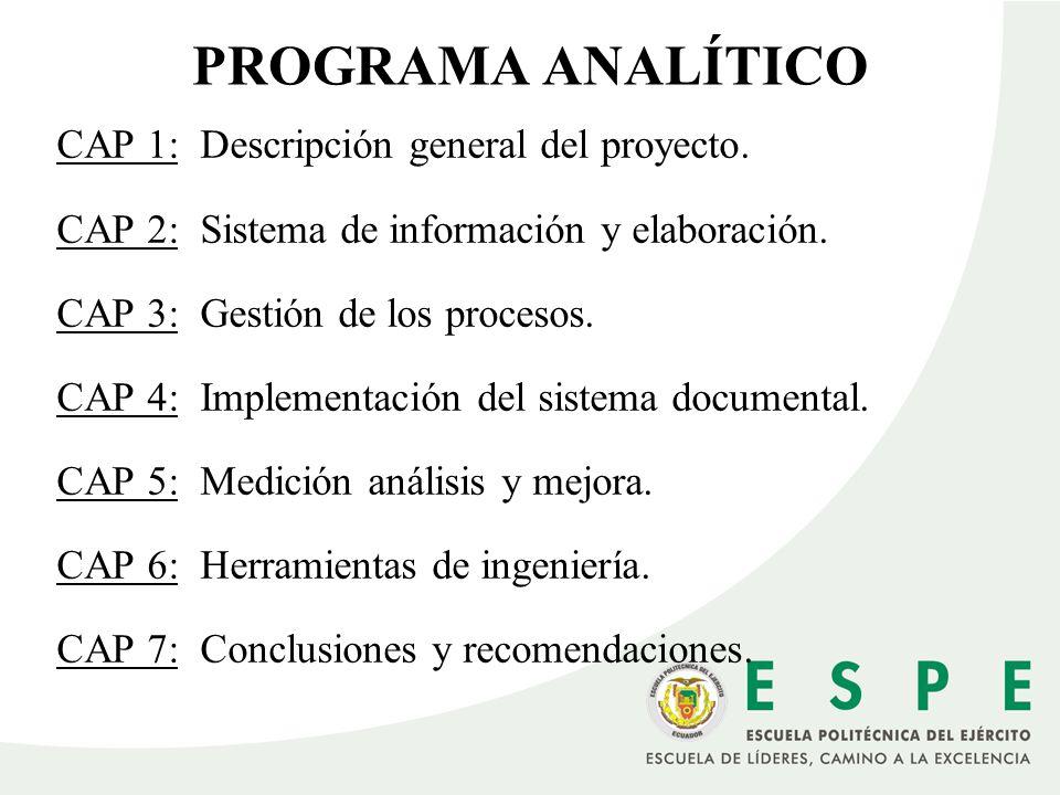 PROGRAMA ANALÍTICO CAP 1: Descripción general del proyecto. CAP 2: Sistema de información y elaboración. CAP 3: Gestión de los procesos. CAP 4: Implem