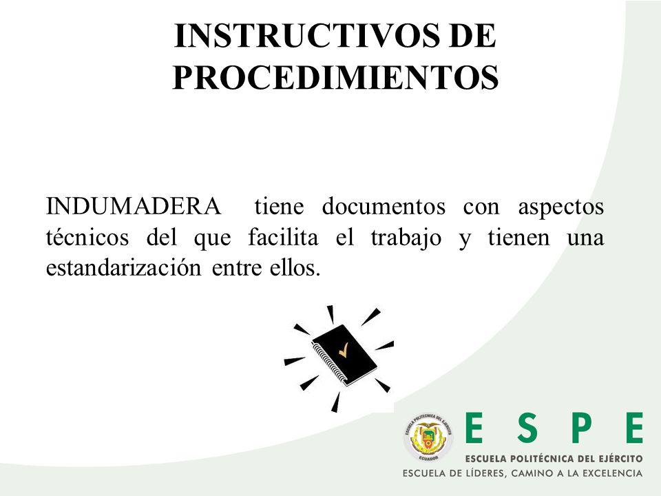 INSTRUCTIVOS DE PROCEDIMIENTOS INDUMADERA tiene documentos con aspectos técnicos del que facilita el trabajo y tienen una estandarización entre ellos.