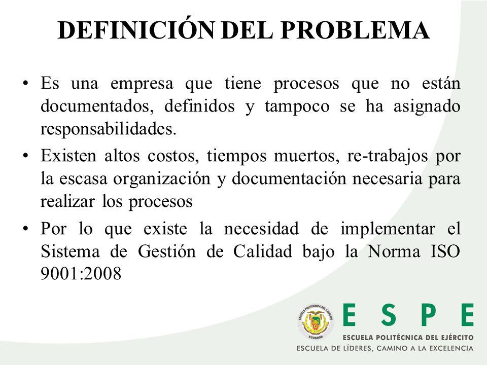 DEFINICIÓN DEL PROBLEMA Es una empresa que tiene procesos que no están documentados, definidos y tampoco se ha asignado responsabilidades. Existen alt