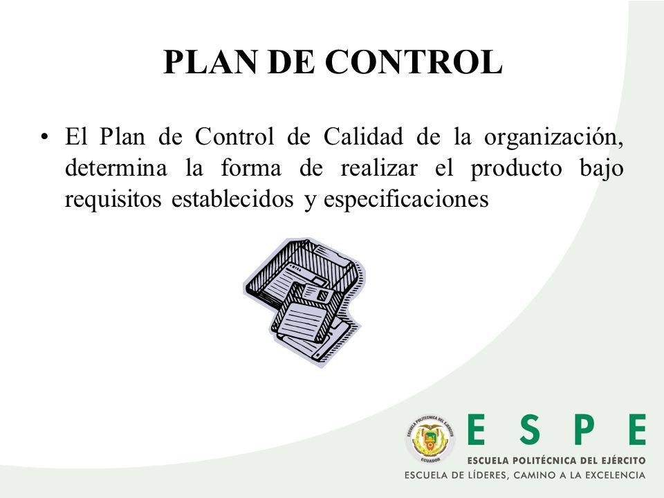 El Plan de Control de Calidad de la organización, determina la forma de realizar el producto bajo requisitos establecidos y especificaciones PLAN DE C
