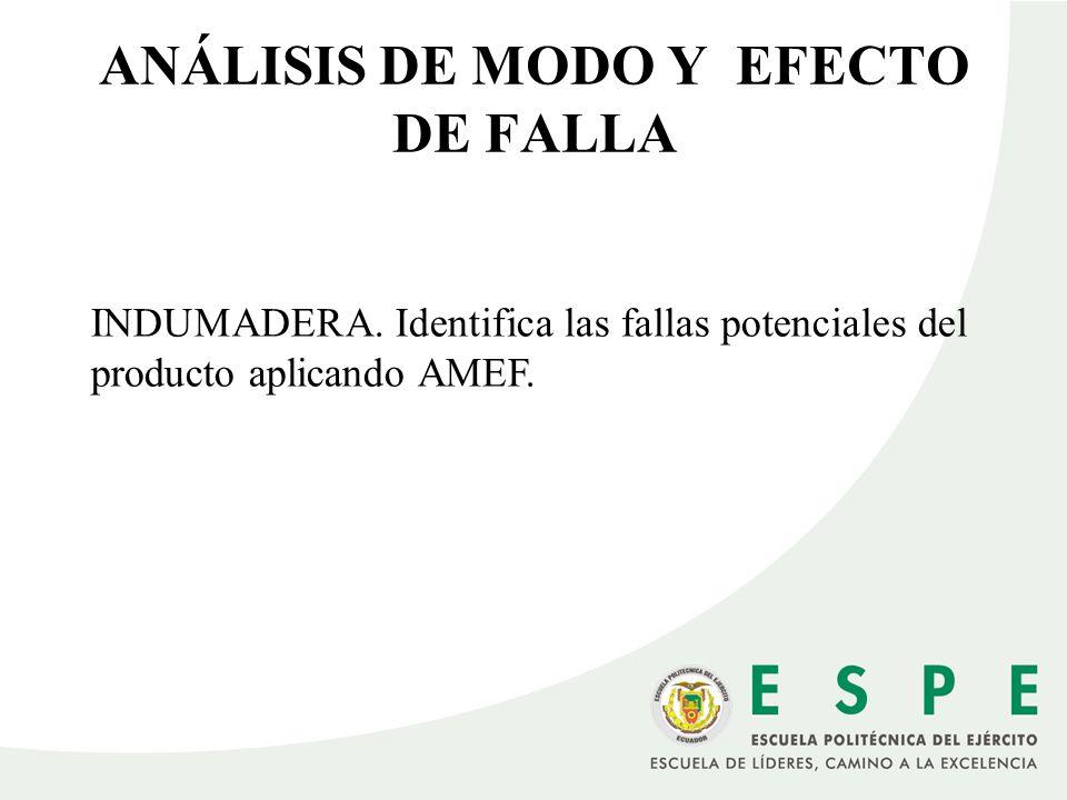 ANÁLISIS DE MODO Y EFECTO DE FALLA INDUMADERA. Identifica las fallas potenciales del producto aplicando AMEF.