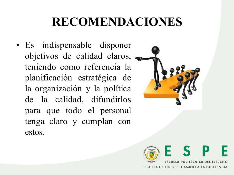 RECOMENDACIONES Es indispensable disponer objetivos de calidad claros, teniendo como referencia la planificación estratégica de la organización y la p