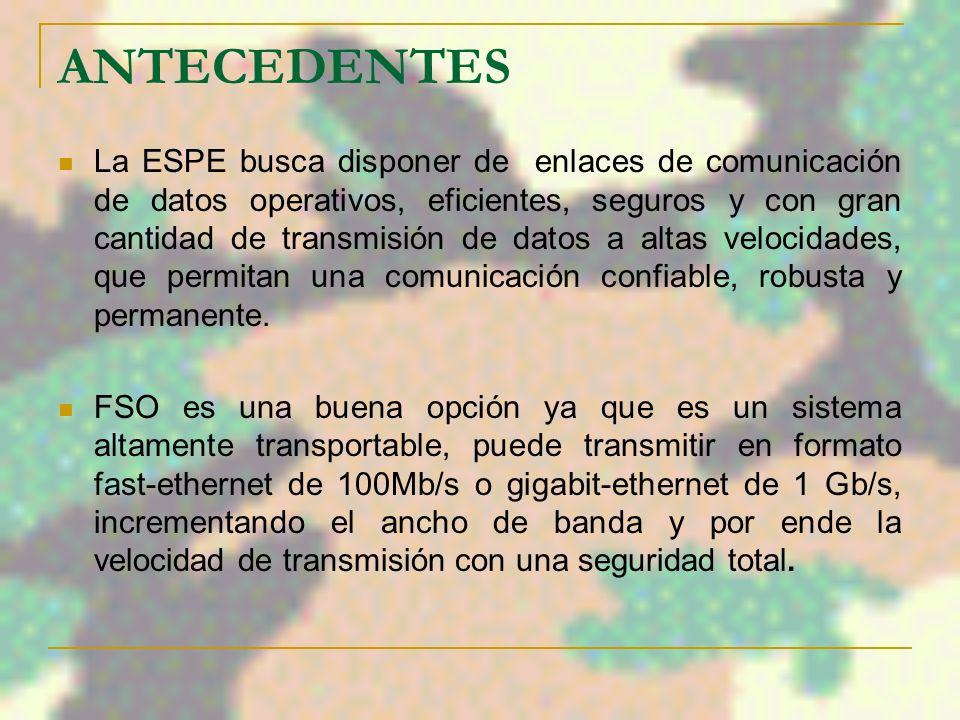 ANTECEDENTES La ESPE busca disponer de enlaces de comunicación de datos operativos, eficientes, seguros y con gran cantidad de transmisión de datos a altas velocidades, que permitan una comunicación confiable, robusta y permanente.