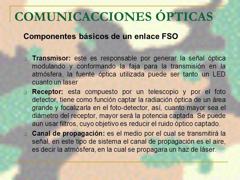 COMUNICACCIONES ÓPTICAS SISTEMAS DE COMUNICACIONES ÓPTICAS (FSO) Es una tecnología de comunicación óptica que utiliza el espacio libre como medio de p