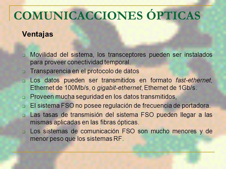 COMUNICACCIONES ÓPTICAS Componentes básicos de un enlace FSO Transmisor: este es responsable por generar la señal óptica modulando y conformando la fa
