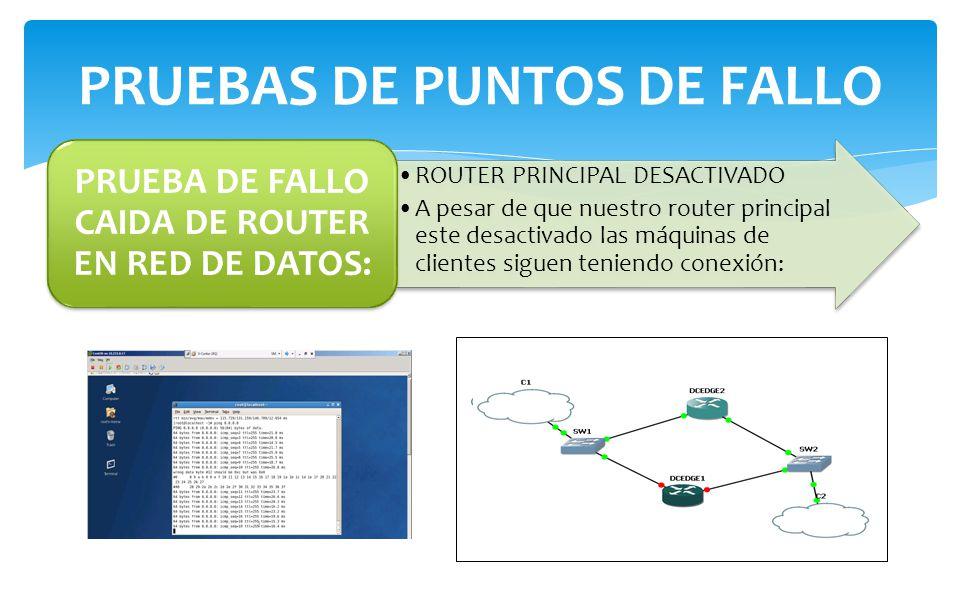 ROUTER PRINCIPAL DESACTIVADO A pesar de que nuestro router principal este desactivado las máquinas de clientes siguen teniendo conexión: PRUEBA DE FAL