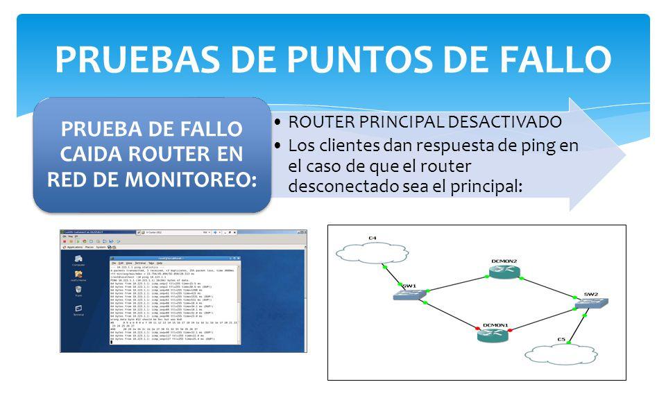 ROUTER PRINCIPAL DESACTIVADO Los clientes dan respuesta de ping en el caso de que el router desconectado sea el principal: PRUEBA DE FALLO CAIDA ROUTER EN RED DE MONITOREO: PRUEBAS DE PUNTOS DE FALLO
