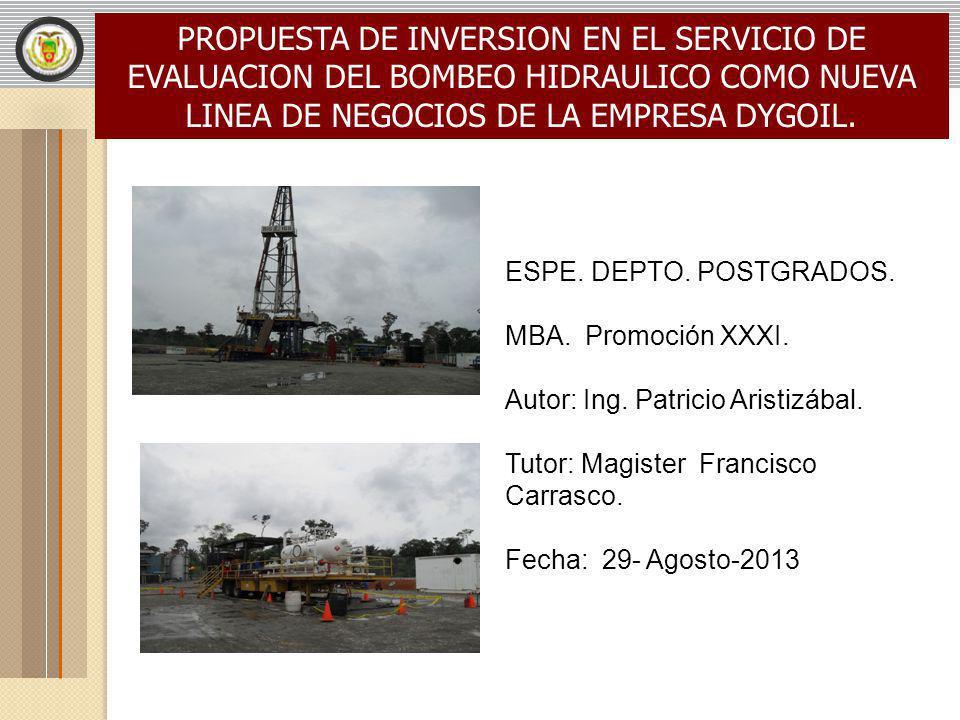 PROPUESTA DE INVERSION EN EL SERVICIO DE EVALUACION DEL BOMBEO HIDRAULICO COMO NUEVA LINEA DE NEGOCIOS DE LA EMPRESA DYGOIL. ESPE. DEPTO. POSTGRADOS.