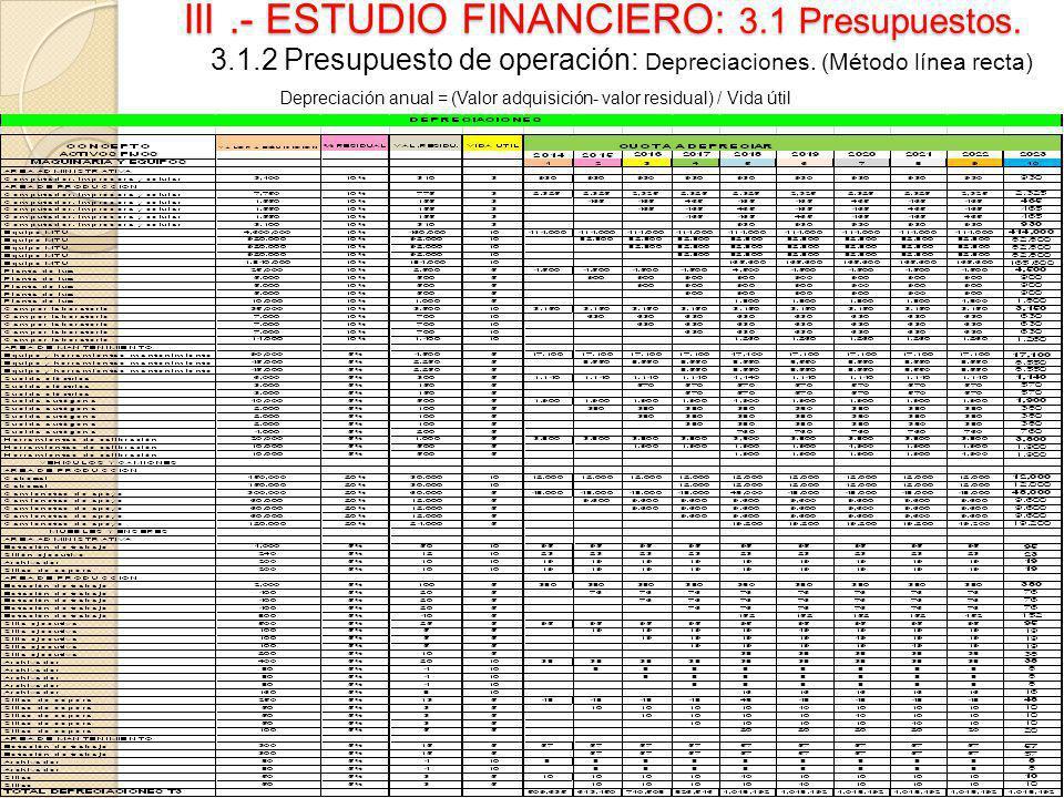 III.- ESTUDIO FINANCIERO: 3.1 Presupuestos. 3.1.2 Presupuesto de operación: Depreciaciones. (Método línea recta) Depreciación anual = (Valor adquisici