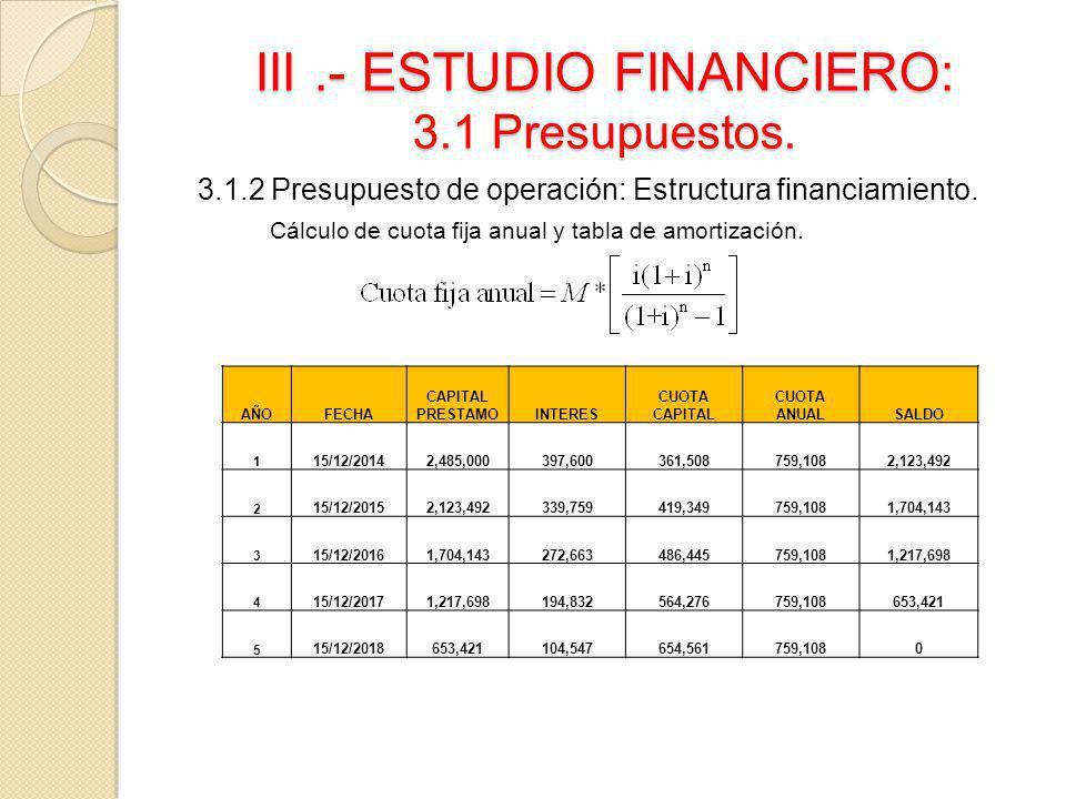 III.- ESTUDIO FINANCIERO: 3.1 Presupuestos. 3.1.2 Presupuesto de operación: Estructura financiamiento. Cálculo de cuota fija anual y tabla de amortiza