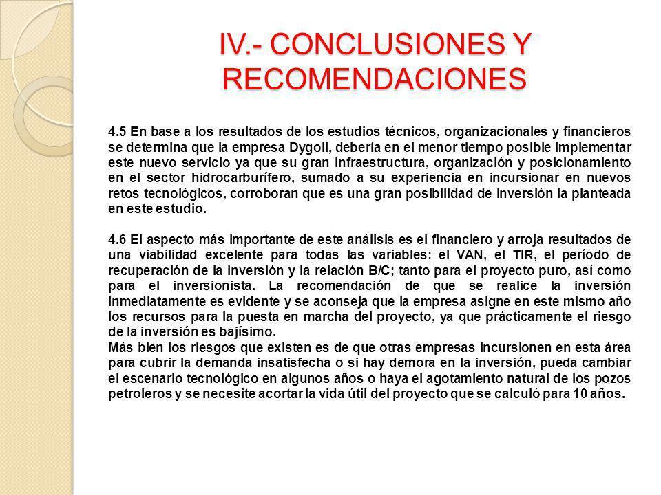 IV.- CONCLUSIONES Y RECOMENDACIONES 4.5 En base a los resultados de los estudios técnicos, organizacionales y financieros se determina que la empresa