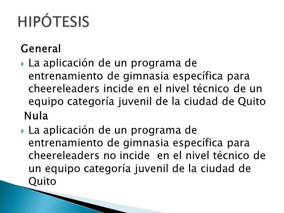 General La aplicación de un programa de entrenamiento de gimnasia específica para cheereleaders incide en el nivel técnico de un equipo categoría juvenil de la ciudad de Quito Nula La aplicación de un programa de entrenamiento de gimnasia específica para cheereleaders no incide en el nivel técnico de un equipo categoría juvenil de la ciudad de Quito