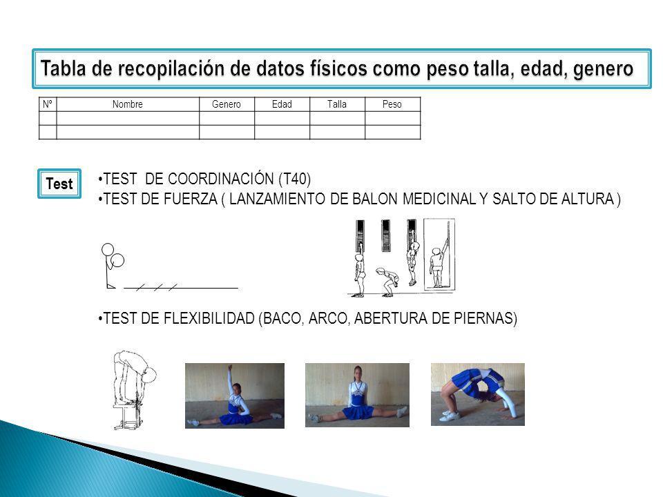 NºNombreGeneroEdadTallaPeso Test TEST DE COORDINACIÓN (T40) TEST DE FUERZA ( LANZAMIENTO DE BALON MEDICINAL Y SALTO DE ALTURA ) TEST DE FLEXIBILIDAD (BACO, ARCO, ABERTURA DE PIERNAS)