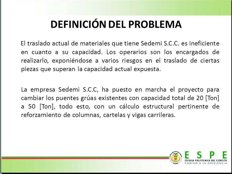 DEFINICIÓN DEL PROBLEMA El traslado actual de materiales que tiene Sedemi S.C.C. es ineficiente en cuanto a su capacidad. Los operarios son los encarg