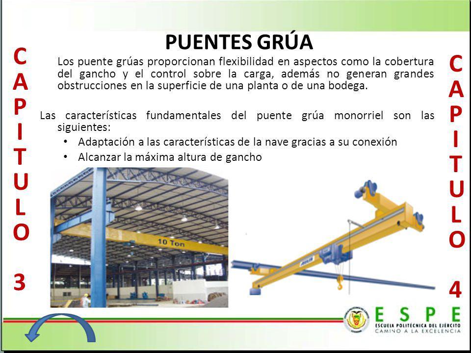 PUENTES GRÚA Los puente grúas proporcionan flexibilidad en aspectos como la cobertura del gancho y el control sobre la carga, además no generan grande