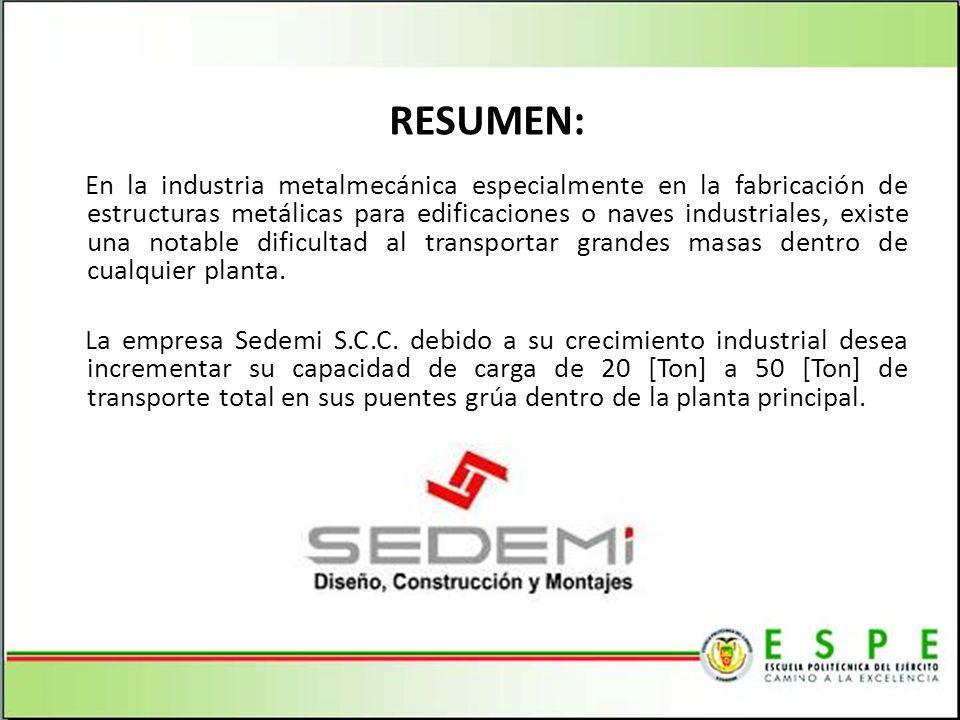 RESUMEN: En la industria metalmecánica especialmente en la fabricación de estructuras metálicas para edificaciones o naves industriales, existe una no