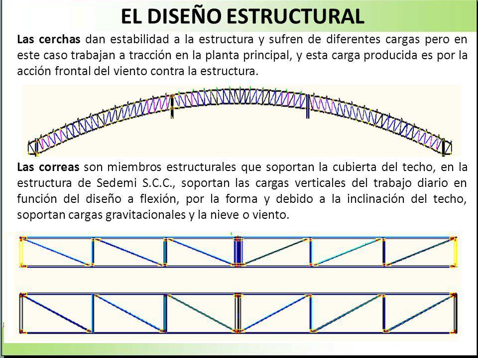 EL DISEÑO ESTRUCTURAL Las cerchas dan estabilidad a la estructura y sufren de diferentes cargas pero en este caso trabajan a tracción en la planta pri